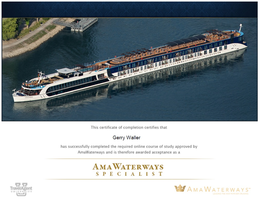 Gerry and Margaret Waller - Certification - AmaWaterways Specialist ...